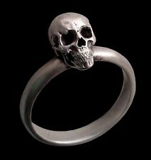Sterling Silver Anatomical Engagement Skull Ring Band - All Sizes - Unisex