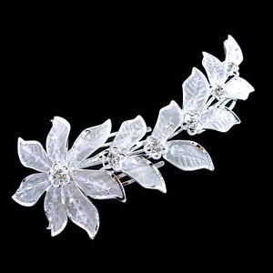 "5"" Elegant White Floral Wedding Party Prom Austria Crystal Hair pins"