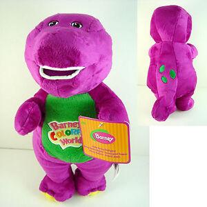 Barney The Dinosaur 28cm Sing I LOVE YOU song Purple Plush Soft Toy Doll + CHARM