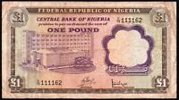 1968 NIGERIA 1 POUND BANKNOTE * D/79 111162 * F+ * P-12a *