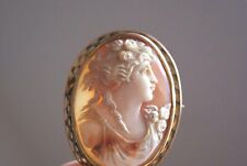 FINE ANTIQUE LARGE 9CT GOLD OVAL CARVED CAMEO GODDESS  BROOCH PIN 5.0 x 4.0 CM