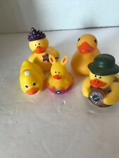 Lot Of 4 Rubber Ducks And I Rubber Bunny In An Egg. Set Of 5 Total