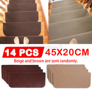 Non-Slip Stair Tread Pads Cover Carpet Mats Step Staircase Protector 14pcs/set