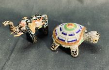 Vintage Chinese Cloisonne Elephant And Turtle Box