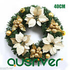 Dia40cm Christmas Wreath Green PVC Leaves Flowers & Balls Door Deco Morvah S439