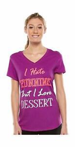 Tek Gear Women's Plus Size V-Neck Gym T-Shirt 'Hate Running But Love Dessert'