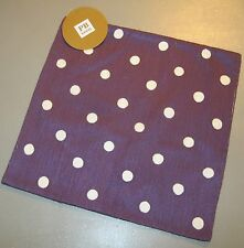 "Pottery Barn Teen Pillow Cover 16x16"" Purple w/ White Dots NWT"