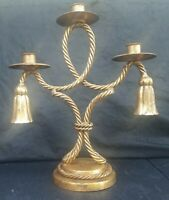 "Vintage Hollywood Regency 13"" Gold Rope Tassel 3 Arm Italian Candelabra"