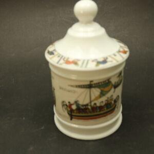 "Limoges France Covered Storage Jar / Pot -Tapisserie de Bayeux Tapestry -7"" Tall"