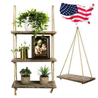Rustic Wooden Hanging Rope Shelf Wood Floating Shelves Organizer Home Decoration