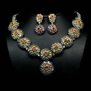 "REAL PINK RUBY CITRINE PERIDOT & AMETHYST SET EARRINGS-NECKLACE 5X6"" 925 SILVER"