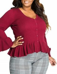 Burgundy Ribbed Fitted Stretch Ruffle Peplum Cardigan top Large XL 3XL Plus Size