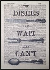 Kitchen Vintage Cutlery Print Dictionary Page Wall Art Picture Dishes Can Wait