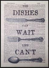 Cocina Vintage Cubiertos Estampado Diccionario Página Decoración Pared Imagen