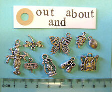 9 tibetan silver out and about charms scarecrow, walking boots, rucksack, nature