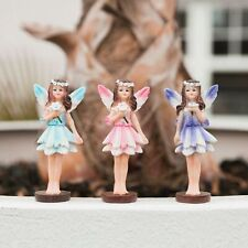 More details for 3 garden fairy ornaments pixie nymphs statues small figures outdoor flower bed