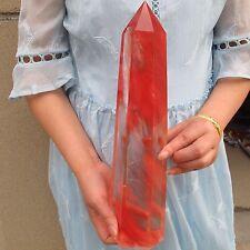 5.2LB Red large Obelisk Smelt Quartz Crystal Terminated Wand point Healing A497