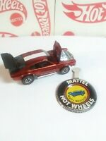 Original Hot Wheels 1970 Redline MIGHTY MAVERICK WITH BUTTON -RED- #255