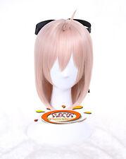 FGO Fate Grand Order Sakura Saber Okita Souji Costume Cosplay Wig +Black belt