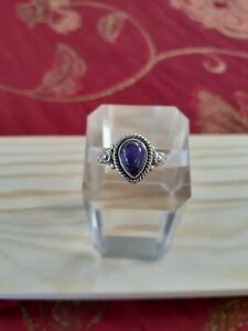 Genuine Purple Turquoise & 925 Sterling Silver Gemstone Ring Size US 6.0