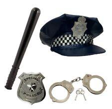 ADULT POLICE FANCY DRESS SET POLICE HAT BADGE BATTON HAND CUFFS FANCY DRESS SET