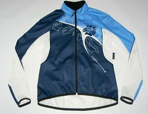 NorthWave Cycling Softshell Cold Weather Jacket Full Zip White Blue Women Medium