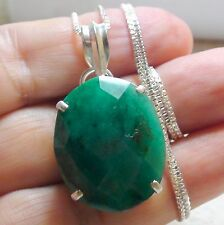 BEST! 34.80 ct NATURAL EGL CERTIFICATE UNHEATED EMERALD PENDANT 925 S-G SILVER