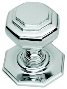 Large Octagonal Polished Chrome Centre Pull Door Knob (BC15B