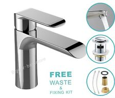 Modern Basin Sink Tap Round Mixer Brushe Mono Bloc Bathroom Cloakroom with Waste