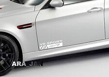 V8 SPORT Racing Vinyl Decal car emblem logo skirt door sticker WHITE