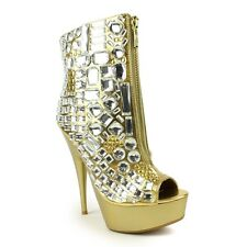 Gold Metallic Jewel Rhinestone Crystal Platform Peeptoe Ankle Bootie High Heel 8