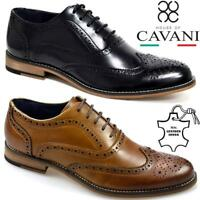 Mens Leather Brogues Smart Formal Office Casual Lace Up London Oxford Shoes Size