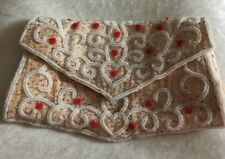 Antique Beaded Purse - Pale peach pink with white red and clear beads Hand sewn