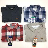 NEW Men's Orvis Outdoor Tech Shirt Short Sleeve Button Up Blue Red Khaki Gray