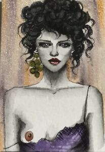 Original ACEO painting. Love in falling dress portrait by Viviana Scala