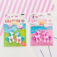 3Pcs Rainbow Unicorn Eraser Toy Animal Pencil Removable Rubber School Supplies