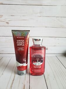 Bath and body works winter candy apple shower gel and body cream set