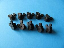 10, Black, Push On Rubber Mickey Ears Pin Badge Backs / Fixings