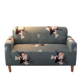Cute Deer Printed Sofa Slipcover Stretch Throw Cushion Protector Pet 1-4 Seat