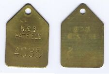 Brass Miners Pit Check Token Tool Lamp Tally   N.C.B. HATFIELD Colliery - 4035