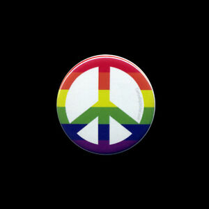 Peace Rainbow BUTTON Gay 2.25-in LGBT LGBTQ sign symbol equality pride colorful