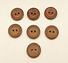 "Set of 7 Tan Genuine Leather Buttons 2-Hole Flat 3/4"" Vintage"