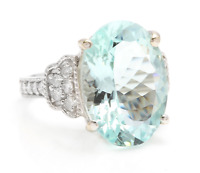 10.65 Carats Natural Aquamarine and Diamond 14K Solid White Gold Ring