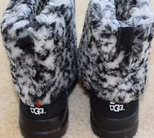 New I Heart UGG Australia Buckle Down Snow Leopard Suede Black Women Boots 7