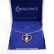 "Swarovski Brilliance 18+2"" 14 KT Rose Gold Zirconia Heart Pendant Necklace NIB"