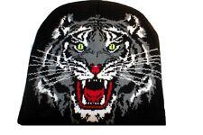 Bonnet à tête de tigre  mixte ( 100% acrylique )  ( Motif de face uniquement )a1