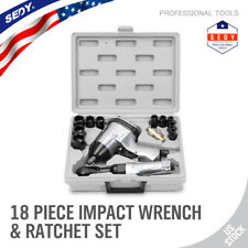 "18PC 1/2"" Drive HighTorque Impact Wrench Gun Ratchet Kit Air Tool Set Socket Set"