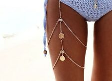 Women Fashion Thigh Chain Coin Necklace Body Bikini Harness Jewelry (Gold)