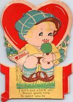 Vintage Die Cut Heart Shaped Valentine Greeting Card Cute Boy Licking A Lollipop