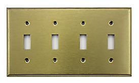 Mulberry 94074 4 Gang Toggle Satin Brass Wall Plate